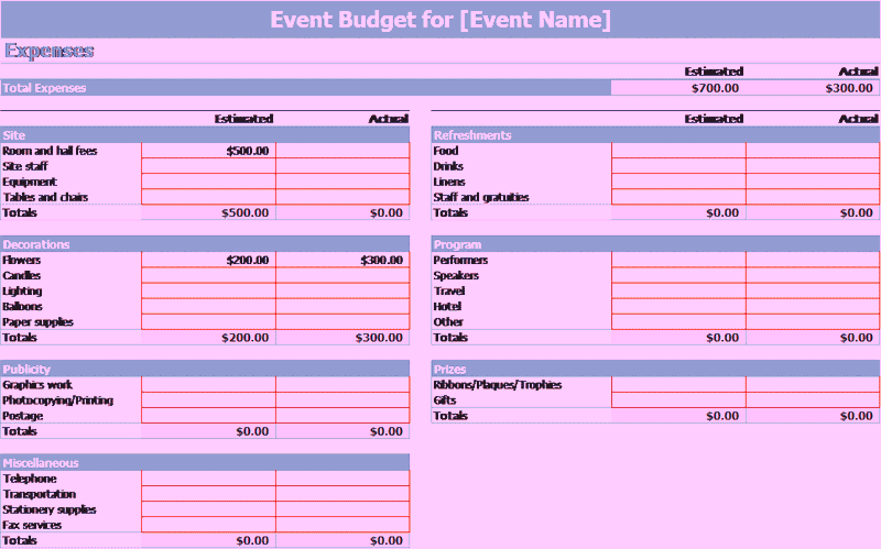 Download Microsoft Excel Event Budget