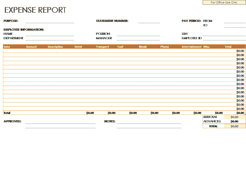 Excel-2010 Expense Report Company Employees
