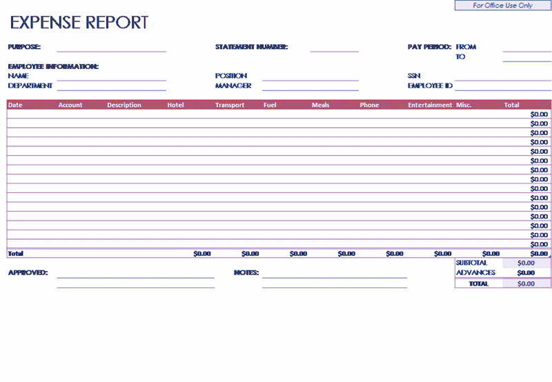 Excel-2013 Expense Report Company Employees