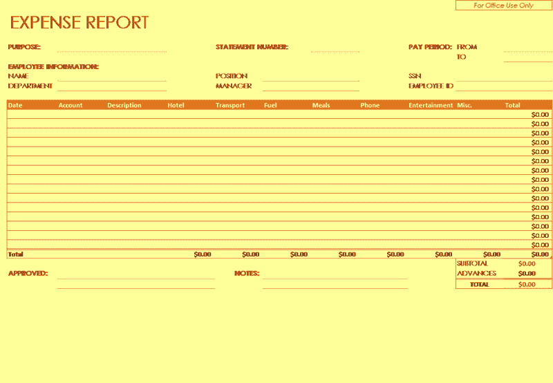 Excel-2016 Expense Report Company Employees