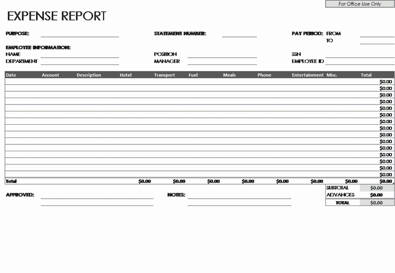 Download Excel-2003 Expense Report