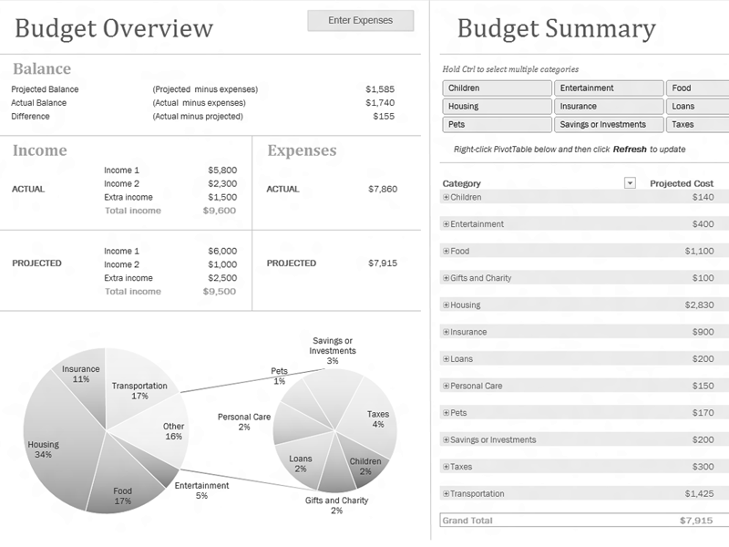 Download Excel-2003 Family Budget With Charts