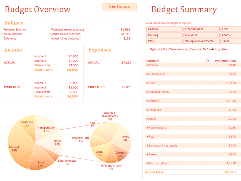 Download Excel-2007 Family Budget With Charts
