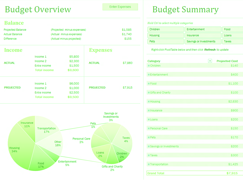 Download Excel-2010 Family Budget With Charts