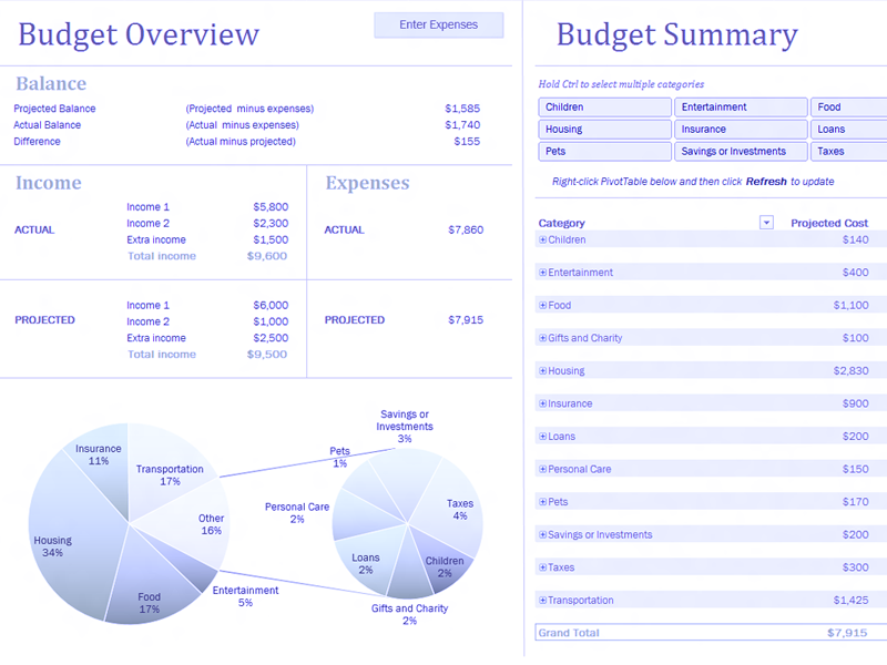 Excel-2013 Family Budget With Charts