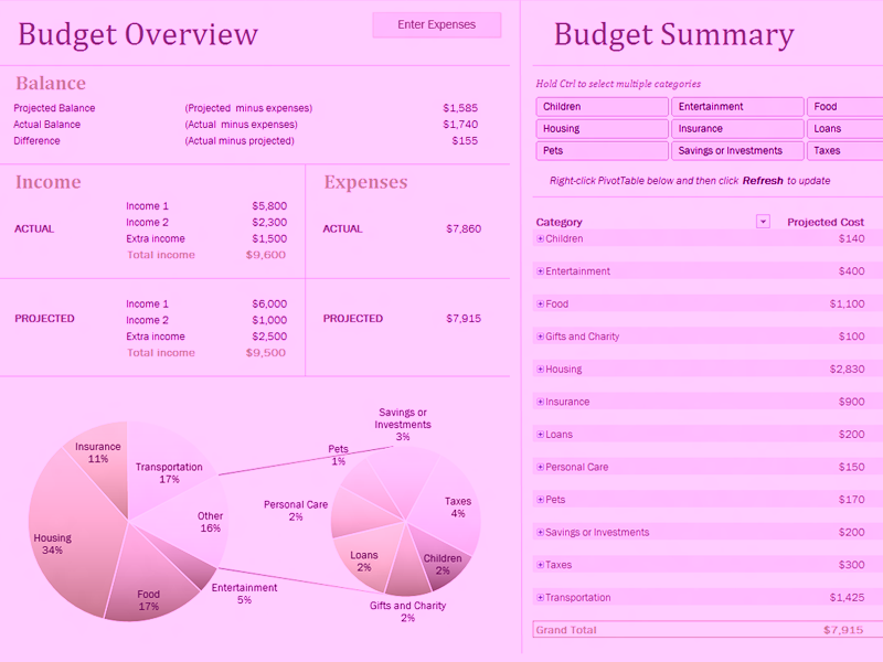Download Microsoft Excel Family Budget With Charts