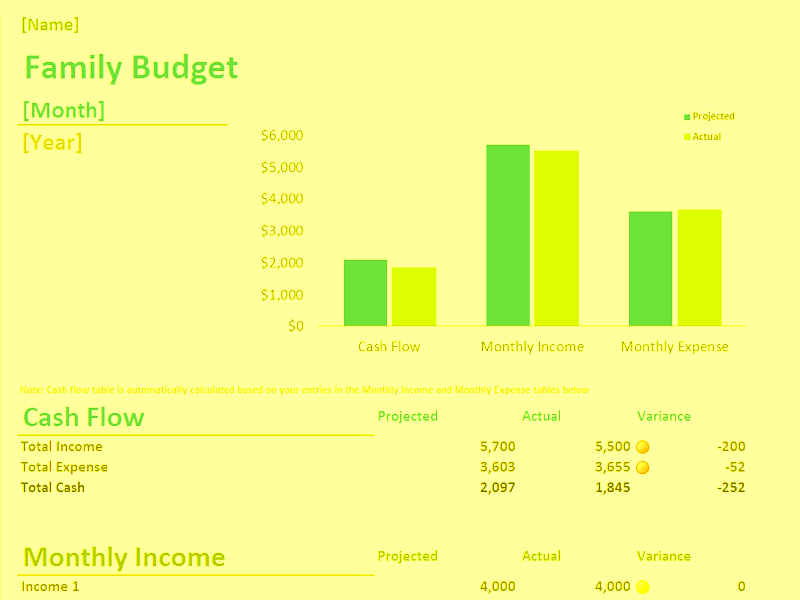 Download Excel-2016 Family Monthly Budget Planner