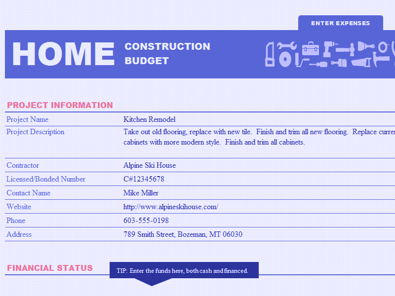 Excel-2013 Home Construction Budget