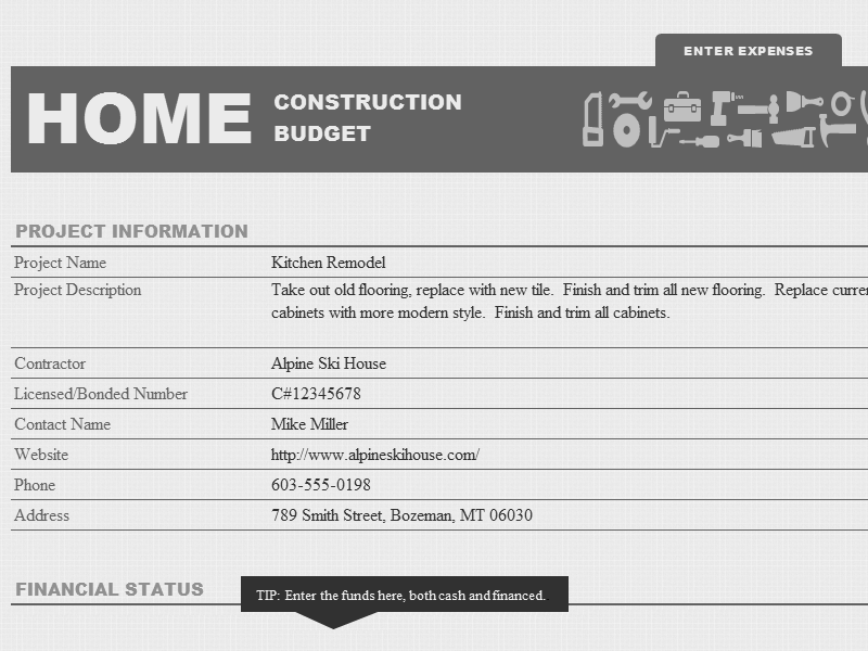 Excel-2003 Home Construction Fund And Budget Template