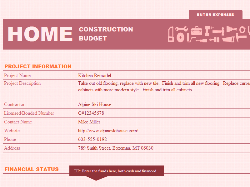 Excel-2007 Home Construction Fund And Budget Template