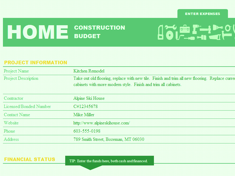Excel-2010 Home Construction Fund And Budget Template