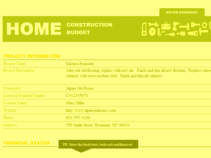 Home construction fund and budget template for microsoft excel for Home construction budget template
