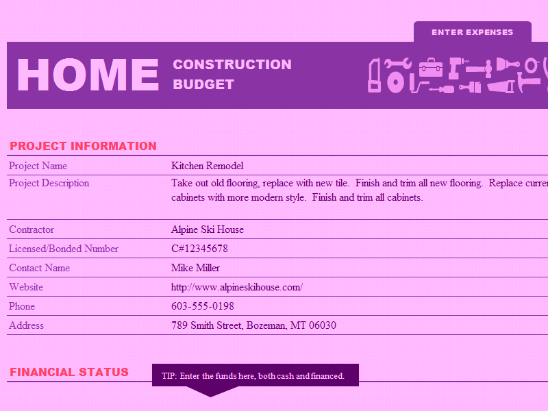 Microsoft-excel Home Construction Fund And Budget Template