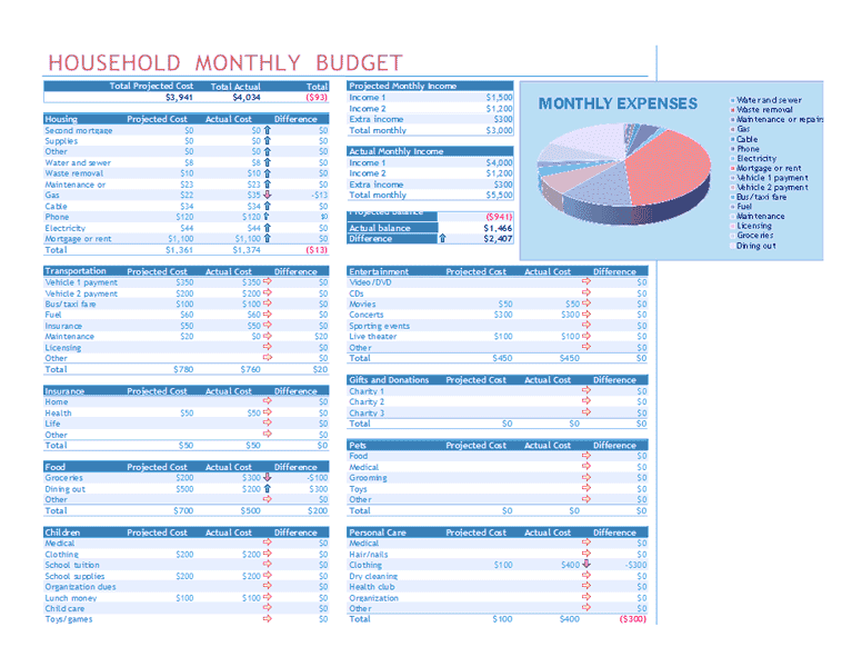 Household monthly budget for microsoft excel for Microsoft excel budget template 2013