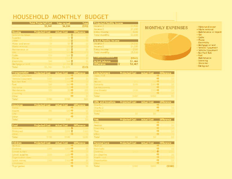 Download Excel-2016 Household Monthly Budget