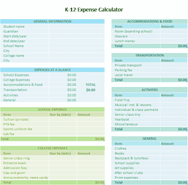 Excel-2010 K-12 School Expense Calculator