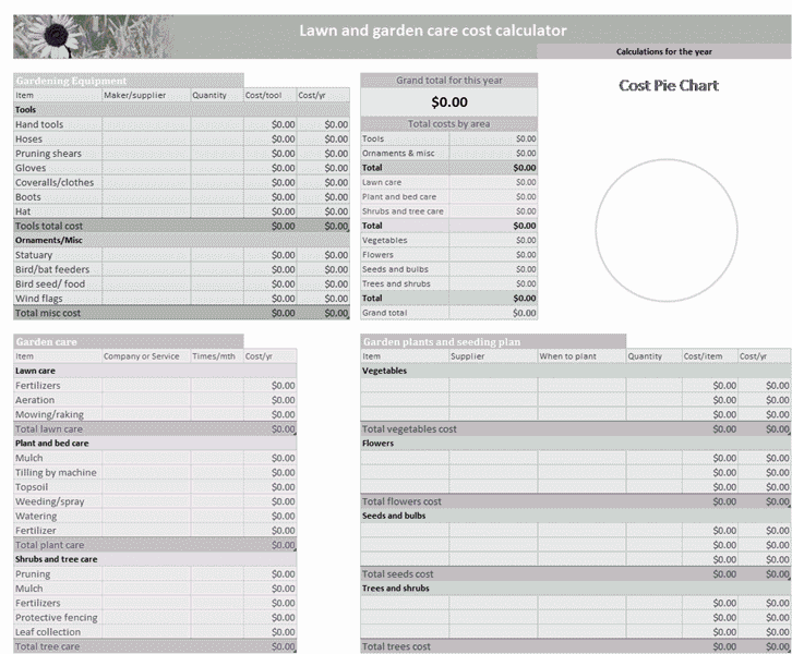 Download Excel-2003 Lawn And Garden Budget