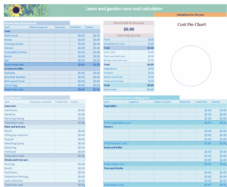 Download Excel-2013 Lawn And Garden Budget
