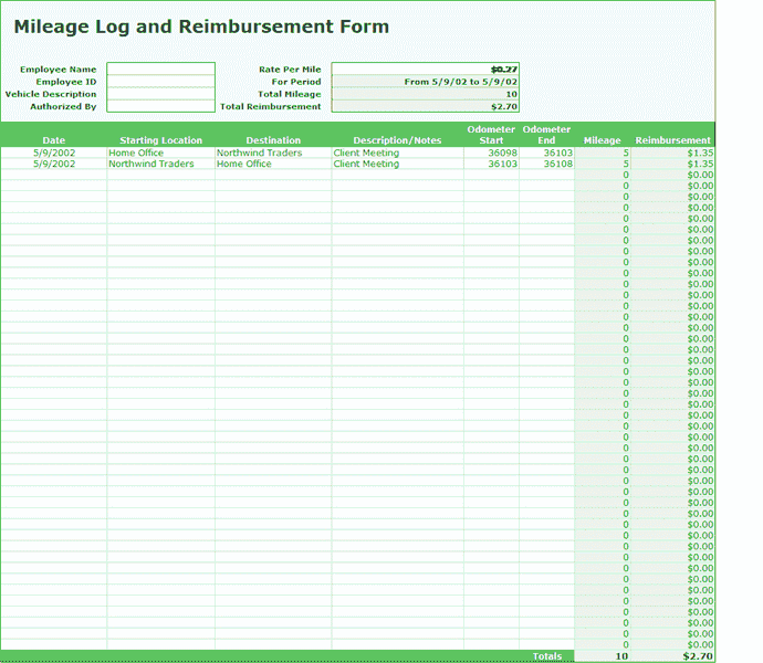 Excel-2010 Mileage Log And Expense Report
