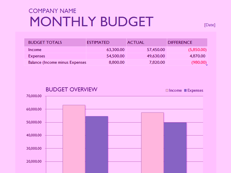 Download Microsoft Excel Monthly Business Budget