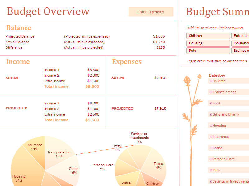 Download Excel-2007 Monthly Family Budget