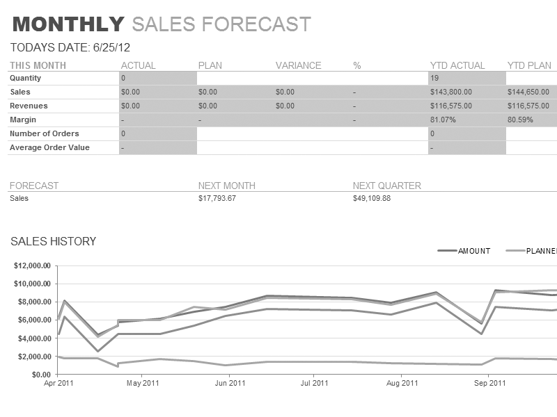 Excel-2003 Monthly Sales Report
