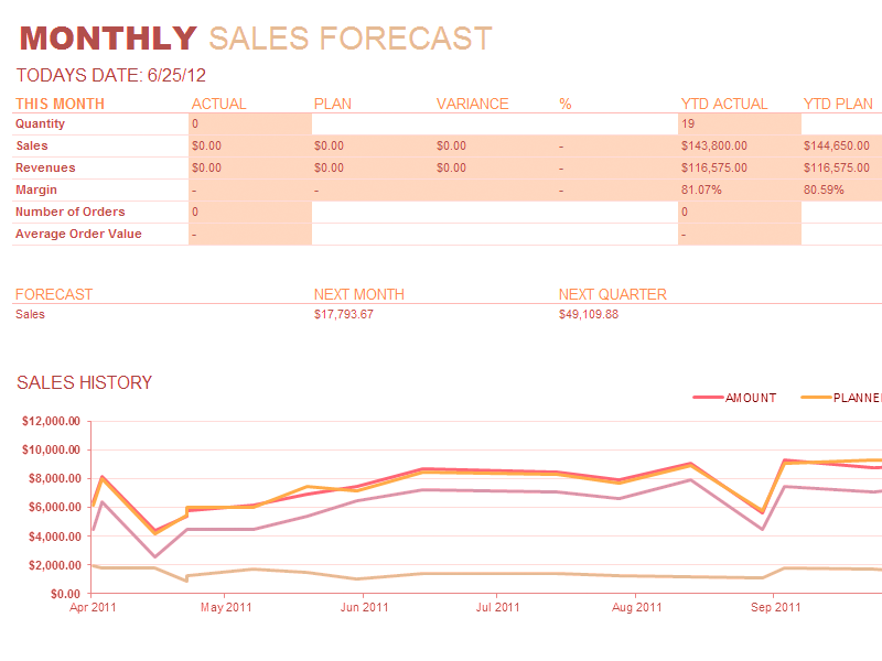 Excel-2007 Monthly Sales Report