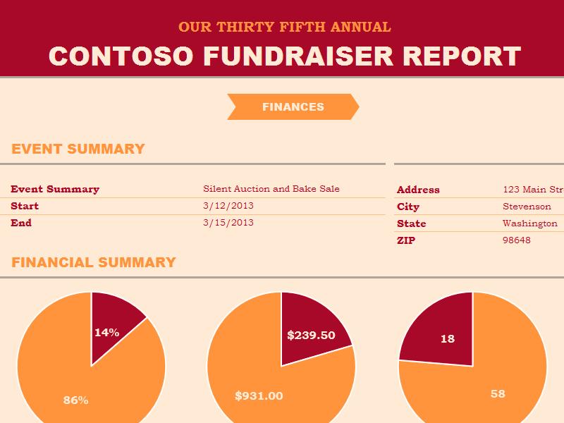 Download Excel-2007 Non-profit Fundraiser Report