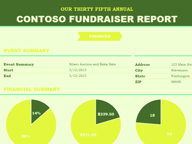Download Excel-2010 Non-profit Fundraiser Report