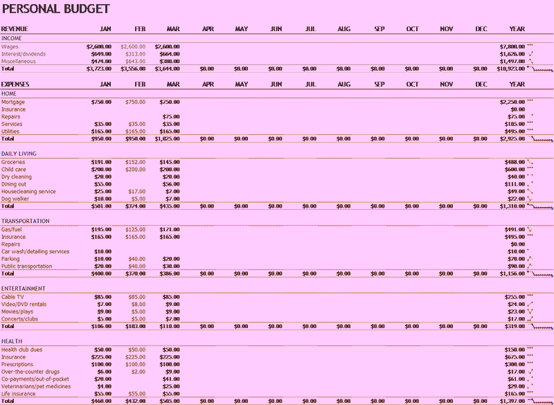 Microsoft Excel Personal Budget