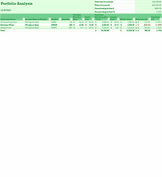 Excel-2010 Portfolio Analysis Template