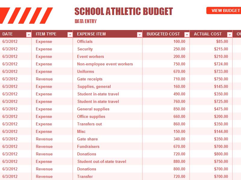 Download Excel-2007 School Athletic Budget