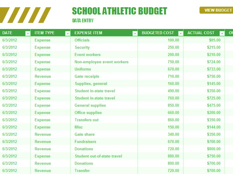 Download Excel-2010 School Athletic Budget