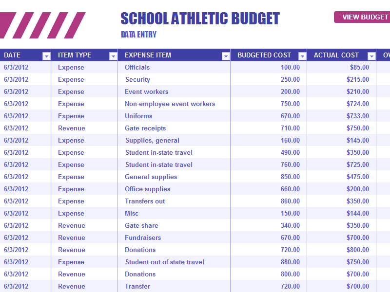 Download Excel-2013 School Athletic Budget