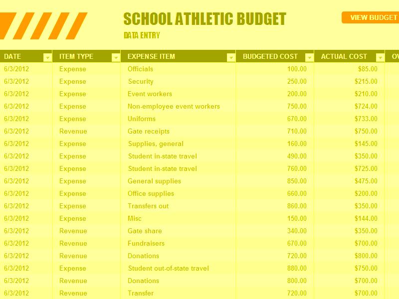 Download Excel-2016 School Athletic Budget