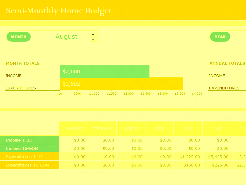 Download Excel-2016 Semi-monthly Home Budget