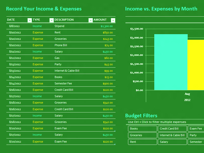 Download Excel-2010 Simple College Budget