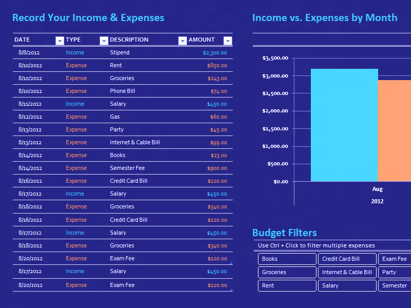 Download Excel-2013 Simple College Budget