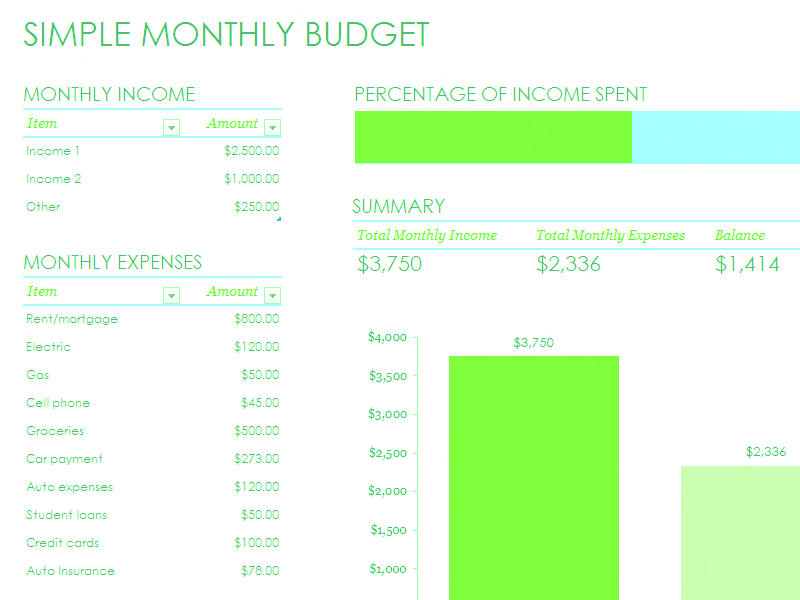 Download Excel-2010 Simple Monthly Budget