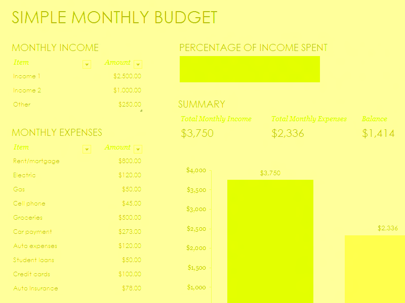 Download Excel-2016 Simple Monthly Budget
