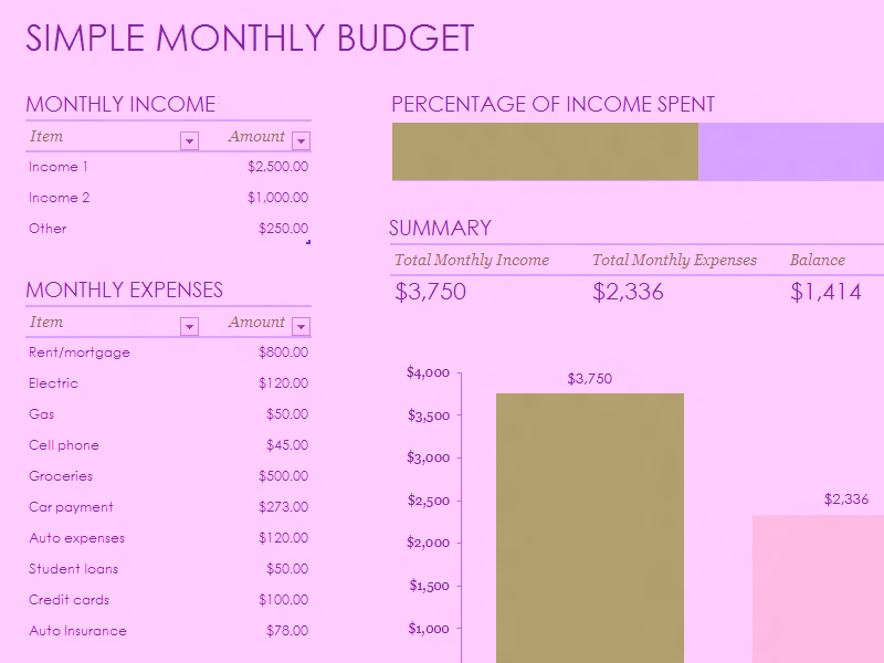 Download Microsoft Excel Simple Monthly Budget