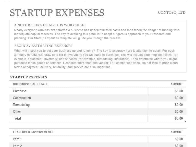 Download Excel-2003 Startup Expenses
