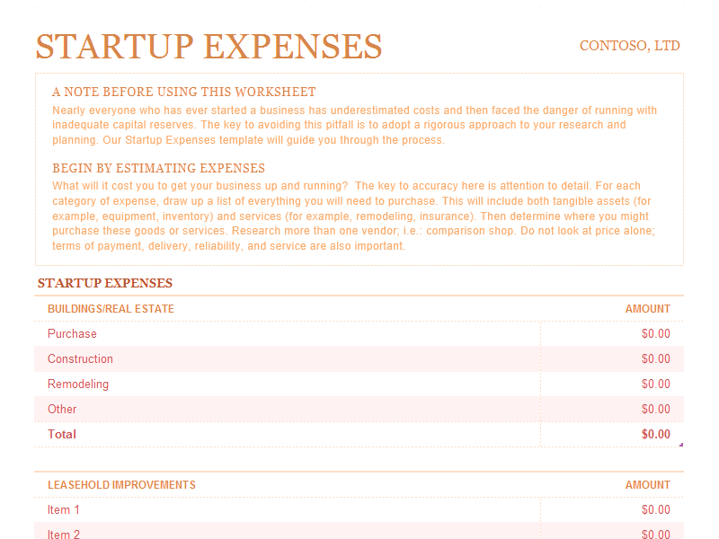 Download Excel-2007 Startup Expenses