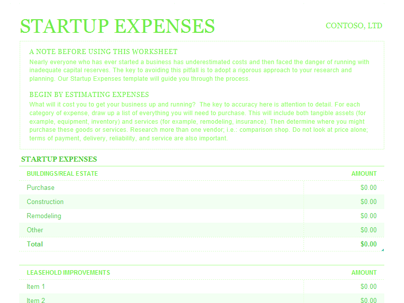 Download Excel-2010 Startup Expenses