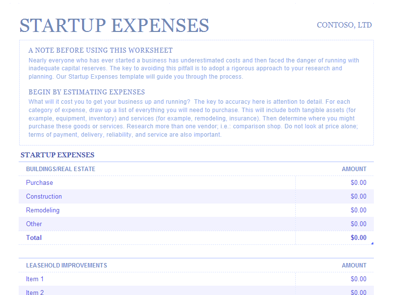 Download Excel-2013 Startup Expenses