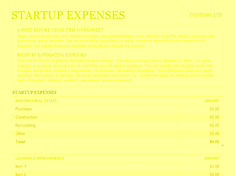 Download Excel-2016 Startup Expenses