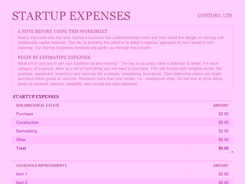 Download Microsoft Excel Startup Expenses