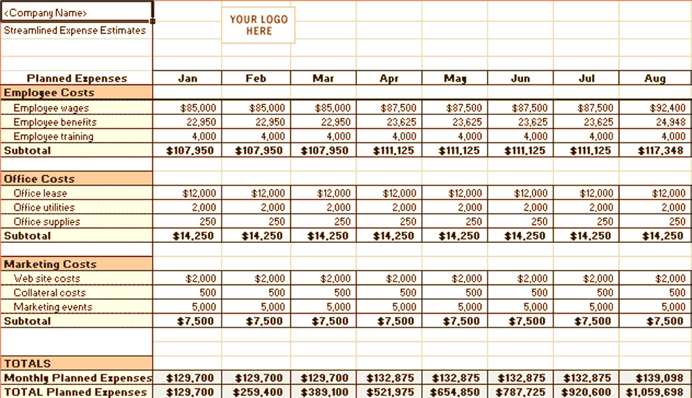 Excel-2007 Streamlined Expense Estimates And Control