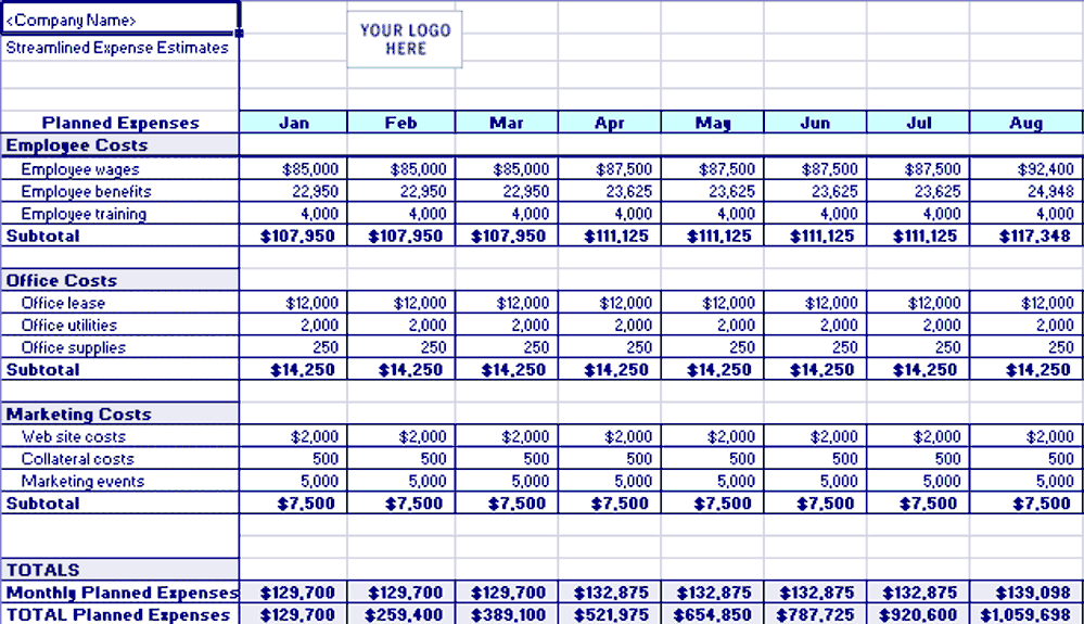 Excel-2013 Streamlined Expense Estimates And Control