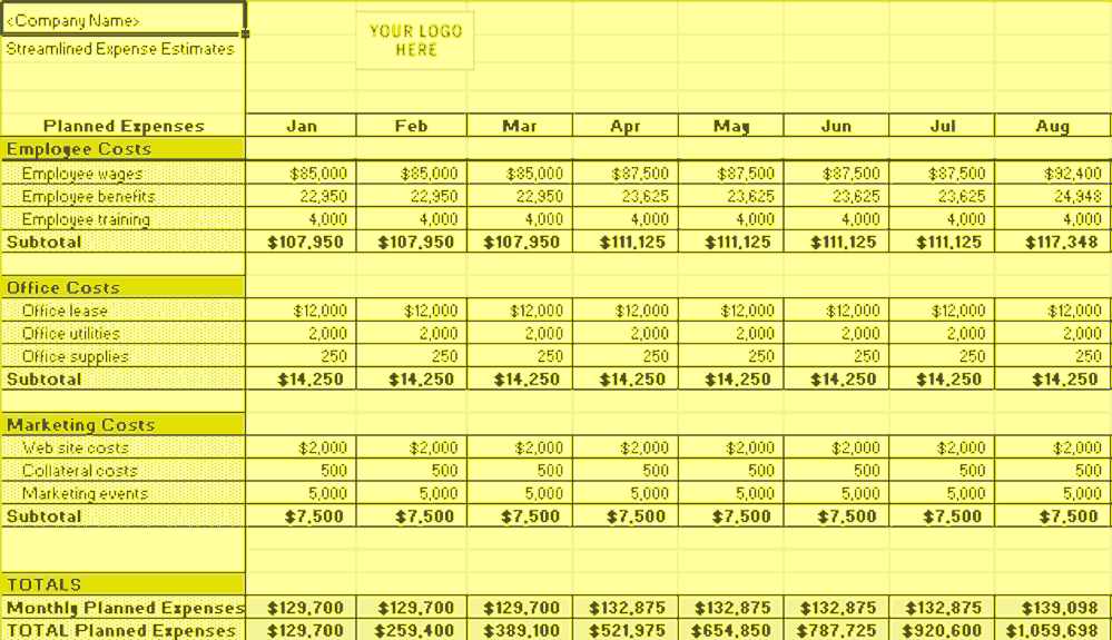 Excel-2016 Streamlined Expense Estimates And Control